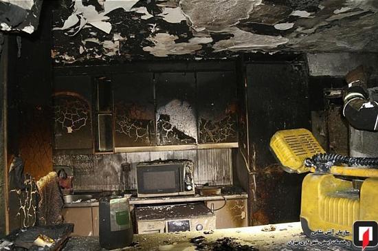 آتشسوزی ساختمان ۱۳ طبقه در سعادتآباد +عکس