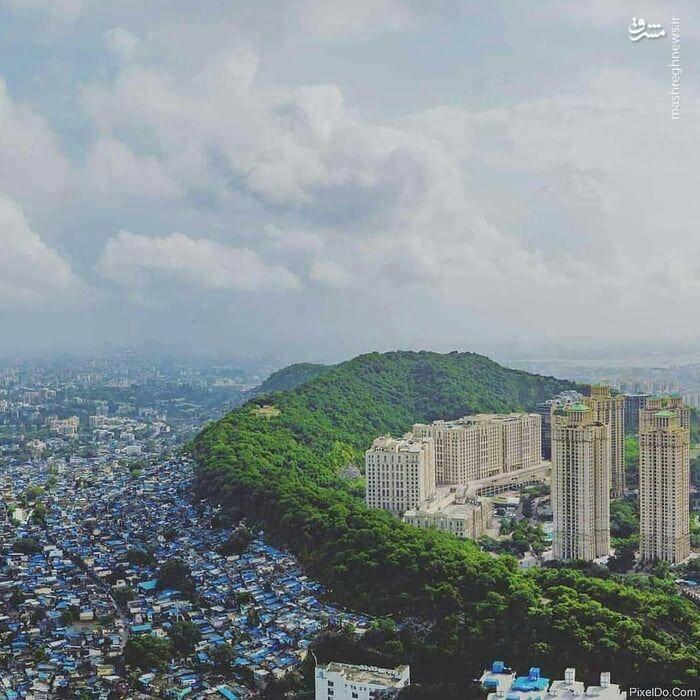مرز بین فقیر و غنی در بمبئی+عکس