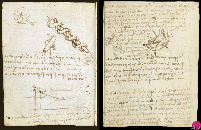 تصاویری از یادداشتهای داوینچی یا آیا داوینچی چپ دست بود؟