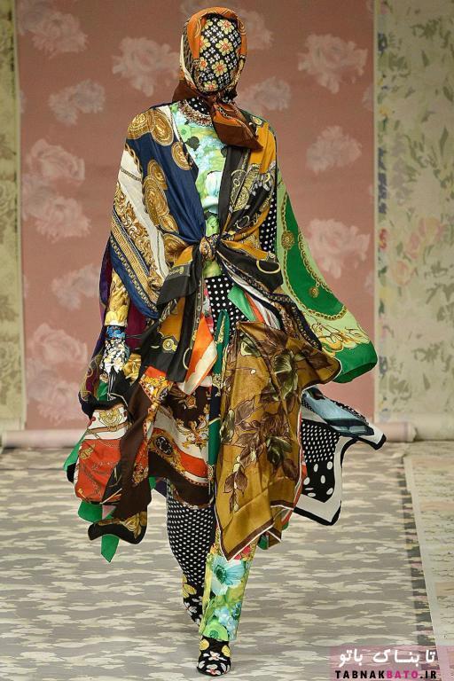 استفاده جالب و منحصر به فرد از روسری در طراحی لباس