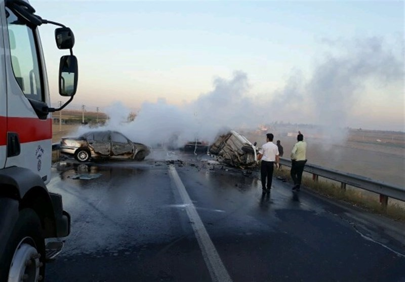 در تصادف دلخراش آذرشهر ۷ نفر درآتش سوختند +عکس