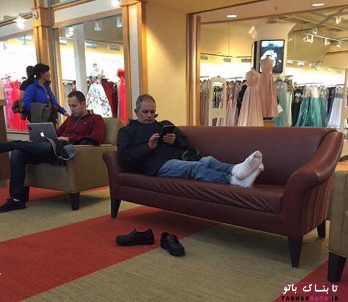 همراهی جالب آقایان در خرید کردن خانمها