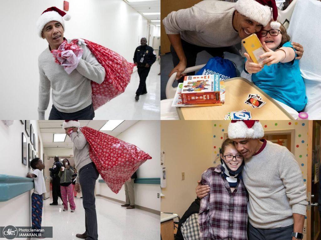 باراک اوباما بابانوئل شد +عکس