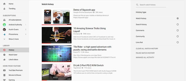 آموزش پاک کردن تاریخچه ویدئوها در یوتیوب