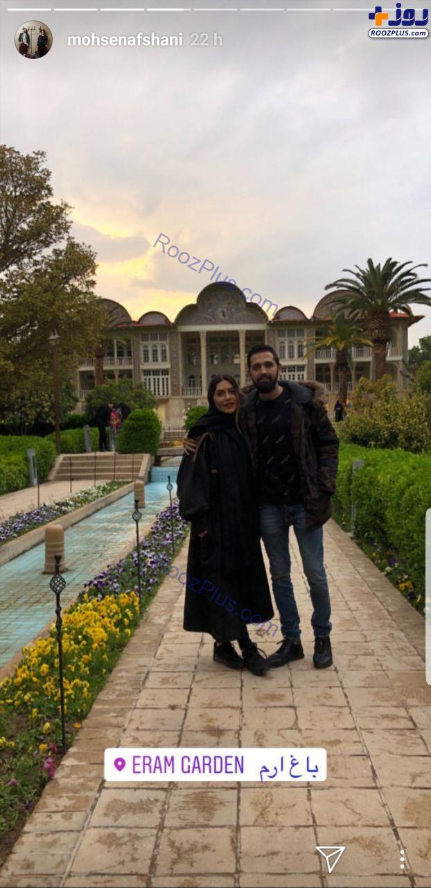 محسن افشانی و همسرش در باغ ارم+عکس