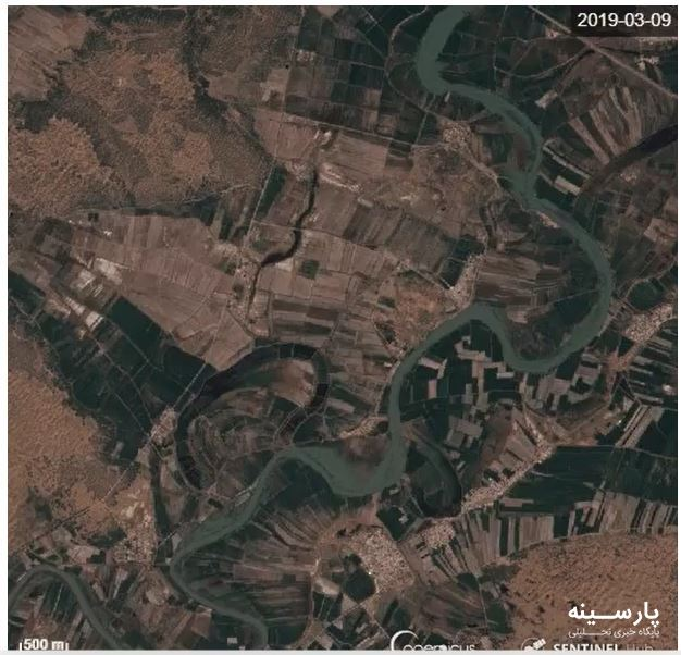 تصویر ماهوارهای از چند برابر شدن عرض کارون بعد از سیل