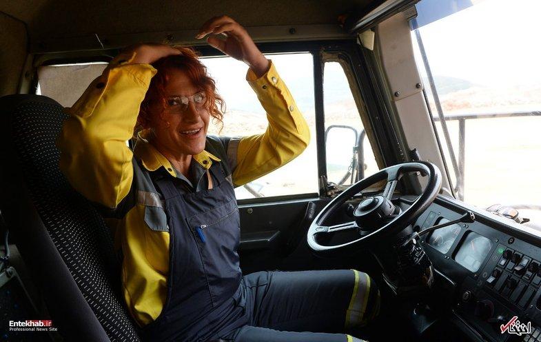 زنی که راننده کامیون غول پیکر معدن طلاست +تصاویر
