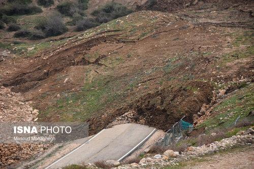 پیشروی رانش زمین در روستای حسین آباد کالپوش - سمنان
