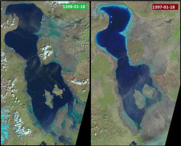 دریاچه ارومیه سیرآب شد +عکس