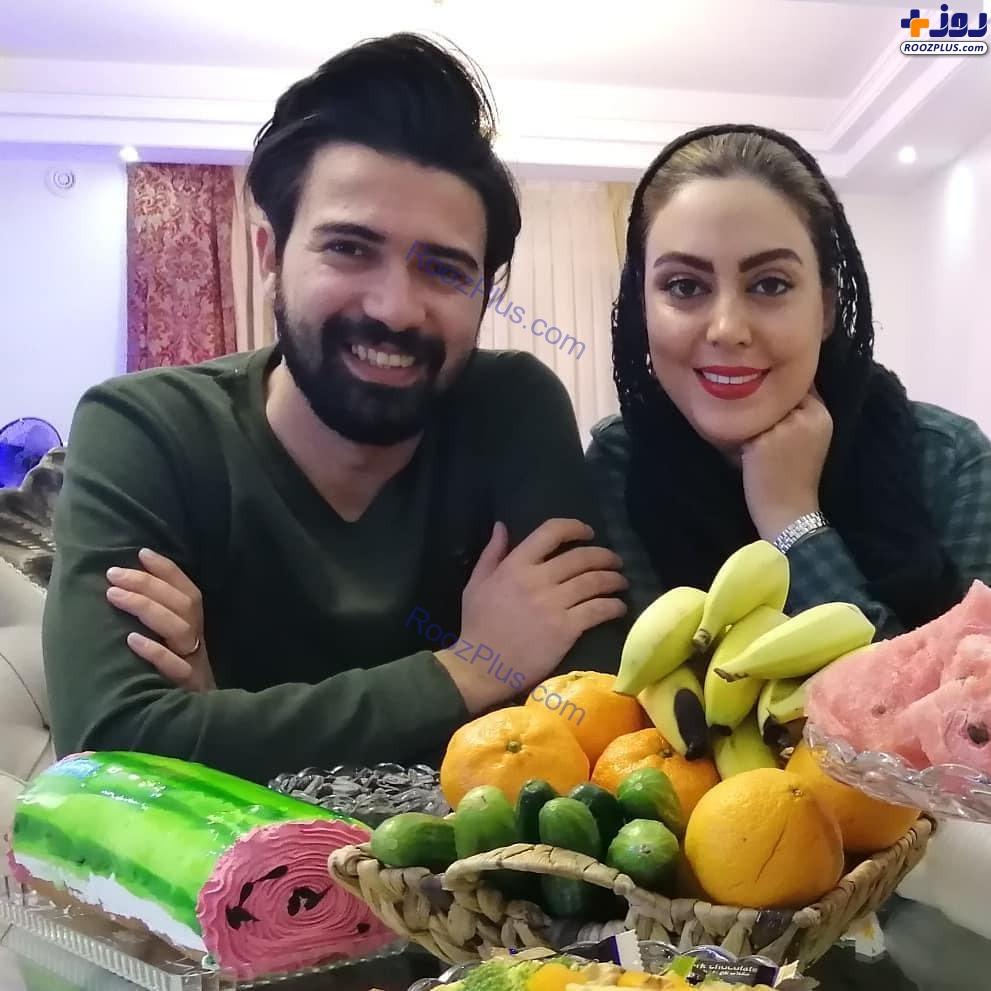 بازیگر تازه عروس و همسرش در شب یلدا+عکس