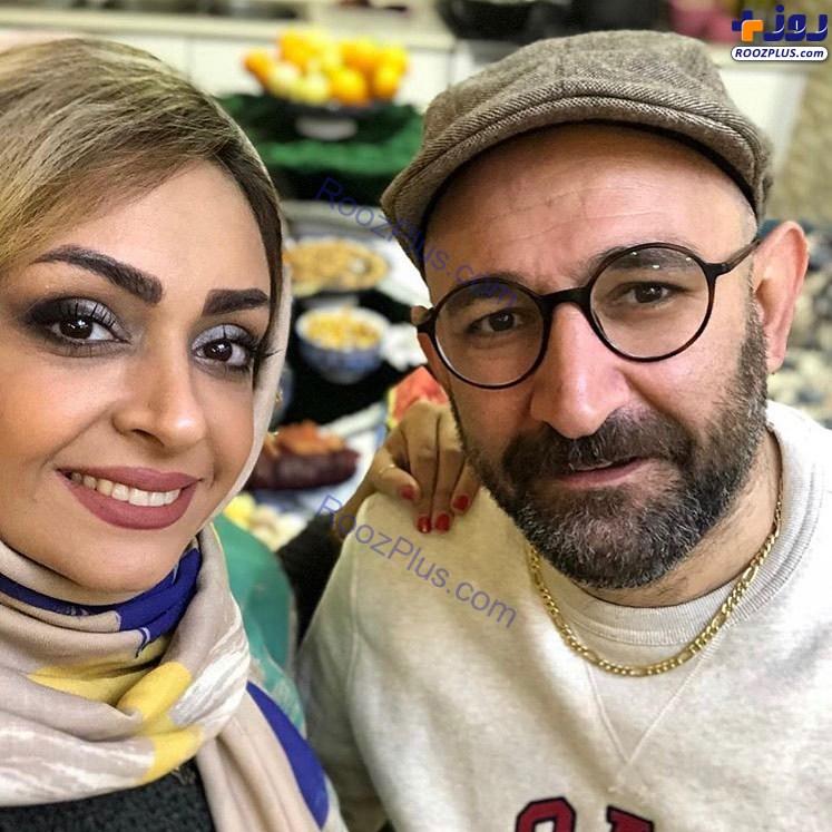 سلفی هدایت هاشمی و همسرش در شب یلدا