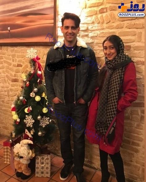 امیرحسین آرمان و خواهرش در کنار درخت کریسمس+عکس