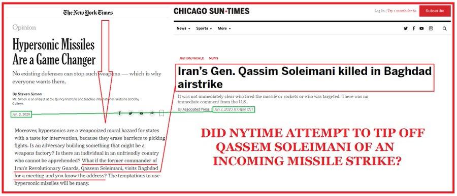 مطلب روزنامه آمریکایی که چند ساعت قبل ترور سردار منتشر شد