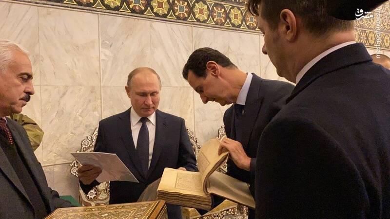 گردش پوتین و اسد در دمشق +عکس