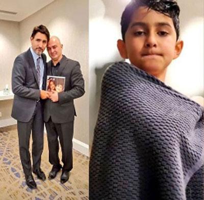 نخست وزیر کانادا در منزل پدر داغدیده ایرانی+عکس