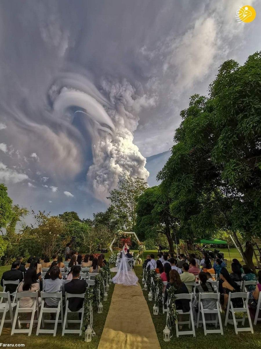جشن عروسی زیر فوران مهیب آتشفشان+ عکس