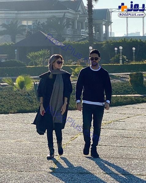 قدم زدن دونفره شاهرخ استخری و همسرش+عکس