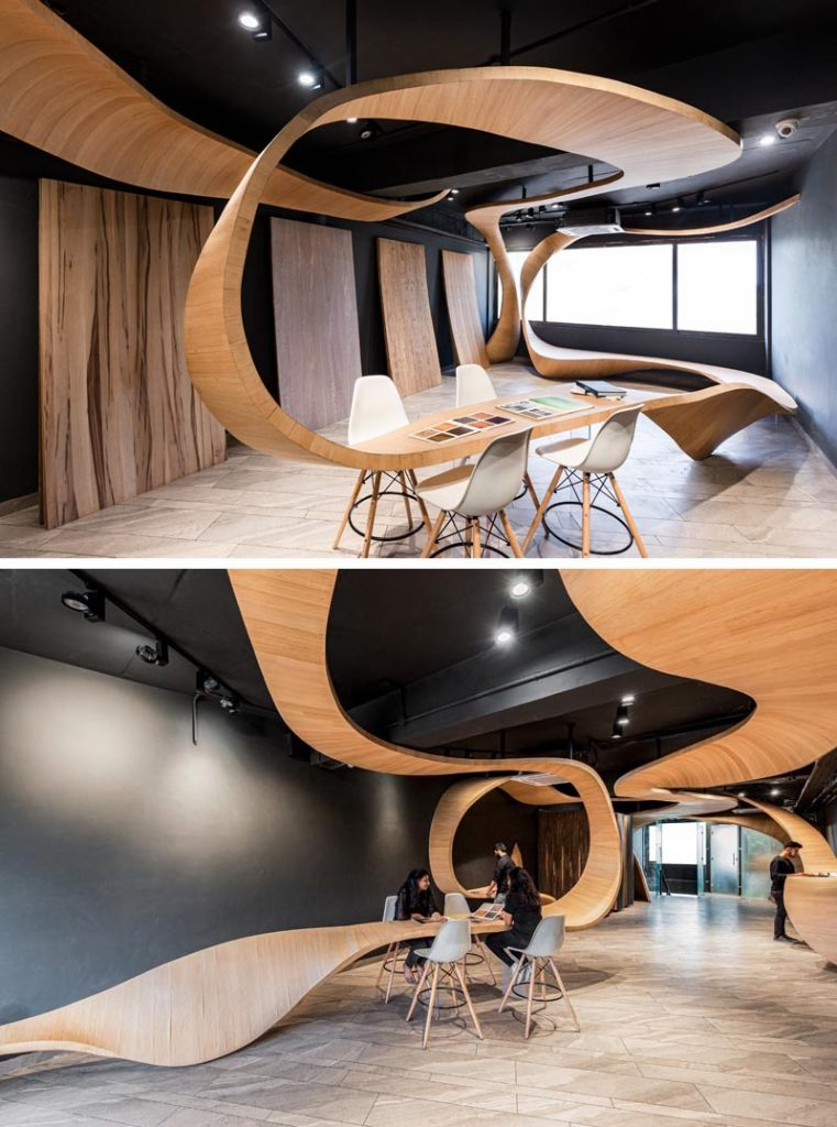 روبان های چوبی با پیچ و تاب های کاربردی در طراحی فروشگاه