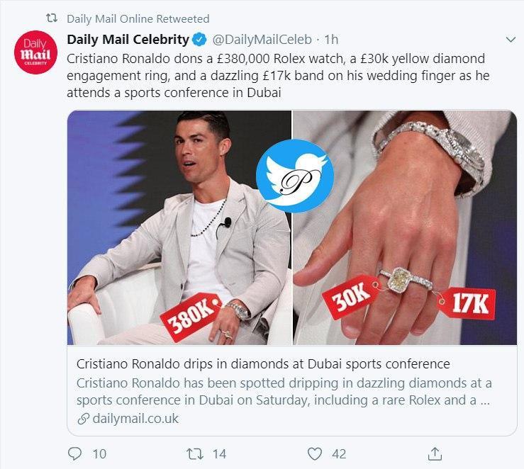 ساعت و انگشتر گرانقیمت رونالدو در دوبی سوژه شد