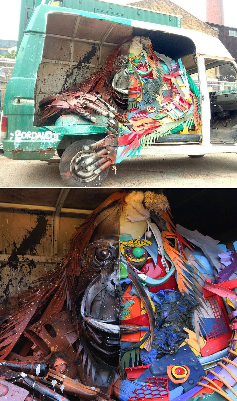 هنرمندی که برای یادآوری و هشدار در مورد میزان زبالهسازی وحشتناک ما، تودههای زباله را به شکل مجسمههای حیوانات درمیآورد