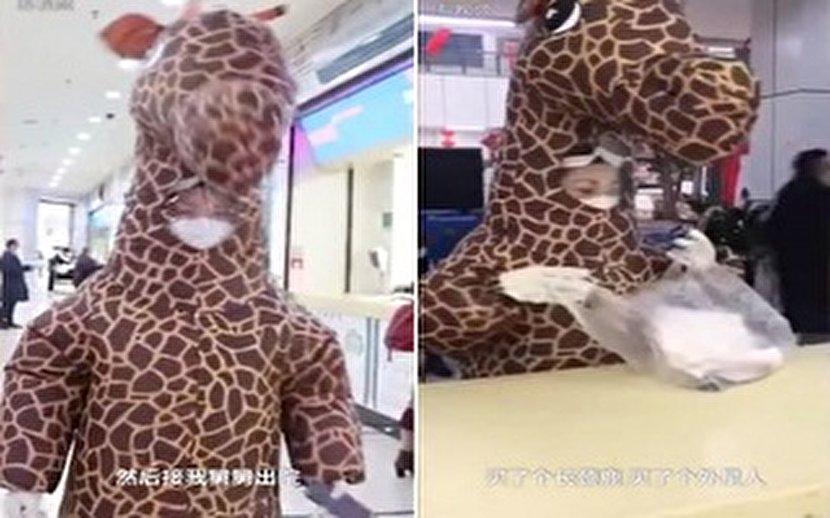 راه حل عجیب زن چینی برای جلوگیری از ویروسی شدن +عکس