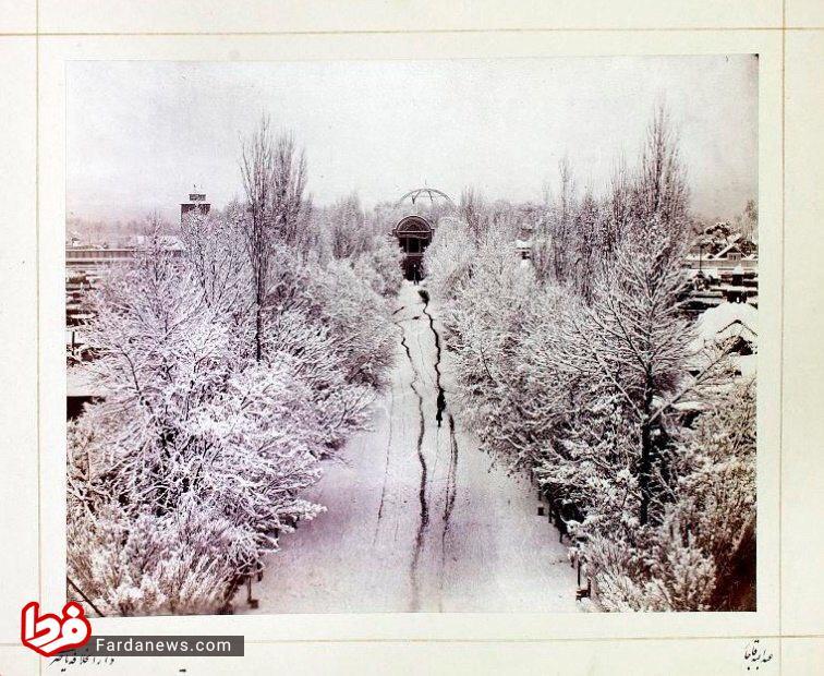 تهران در روزی برفی در عصر ناصرالدین شاه +عکس