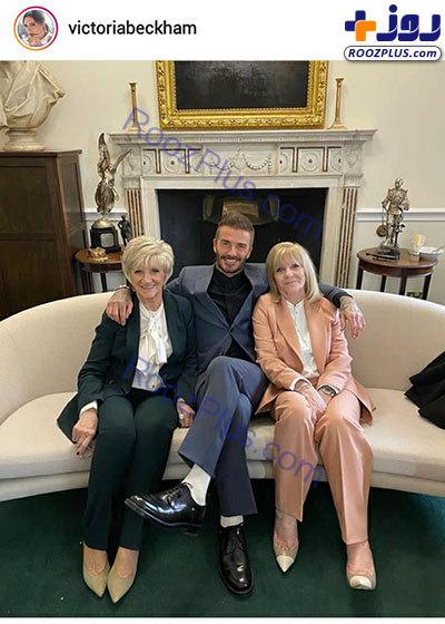 دیوید بکهام در کنار مادر و مادرزنش+عکس