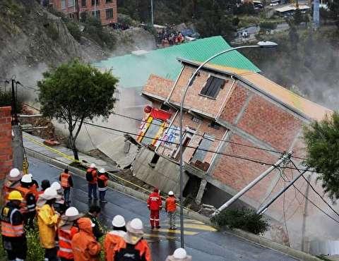لحظه تخریب منازل براثر رانش زمین در بولیوی