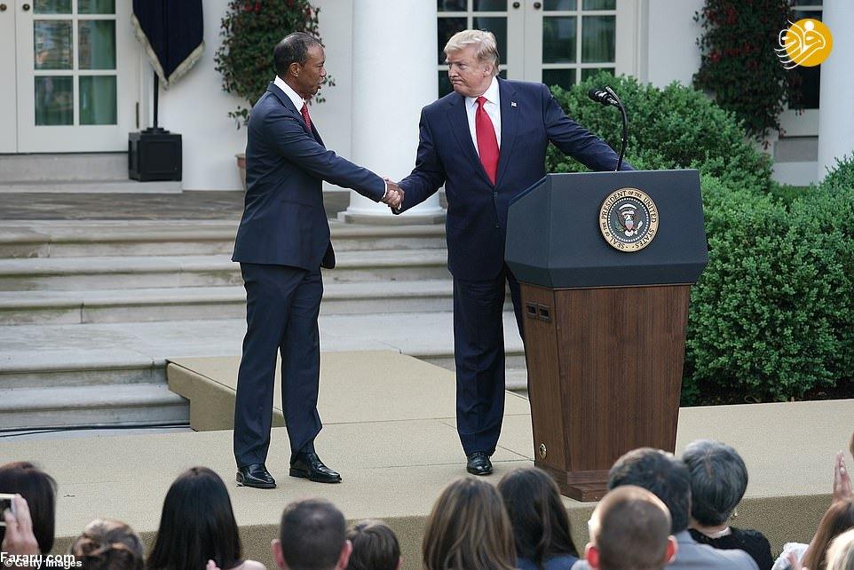 ترامپ به تایگر وودز نشان افتخار داد+عکس