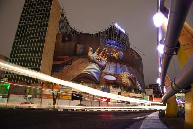 دیوارنگاره میدان ولیعصر با حال و هوای رمضان+عکس