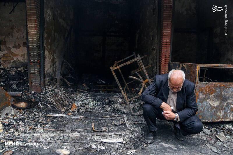 لحظهای تلخ از آتشسوزی تبریز +عکس
