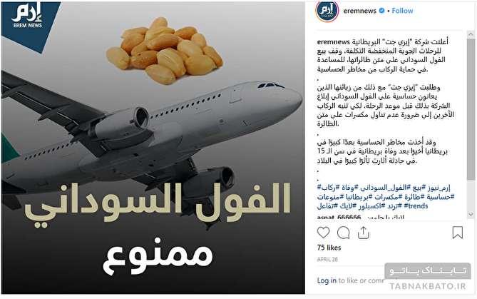 دلیل ممنوعیت بادام زمینی در شرکتهای هواپیمایی انگلستان