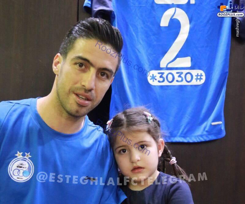 خسرو حیدری و دخترش در ورزشگاه+عکس