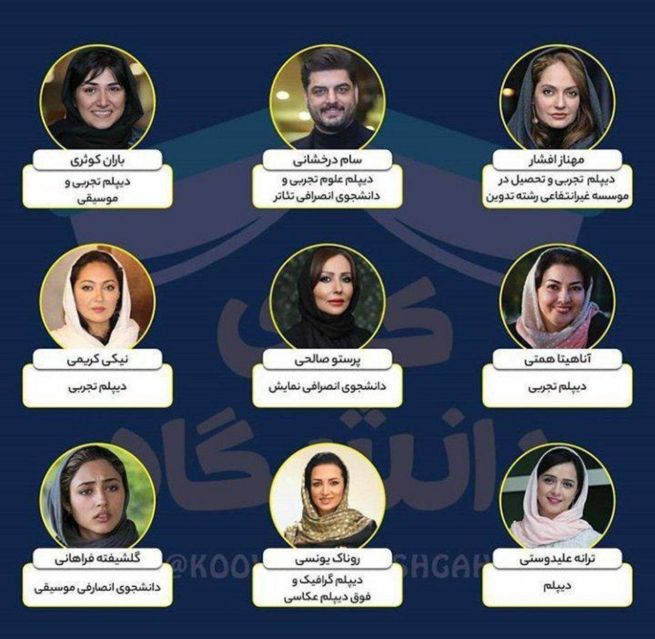 مدرک دیپلم سلبریتی های ایرانی+ عکس