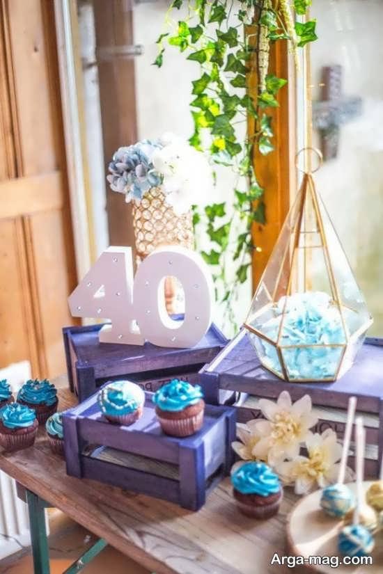 تم تولد چهل سالگی با تزئینات و خلاقیت های بسیار زیبا