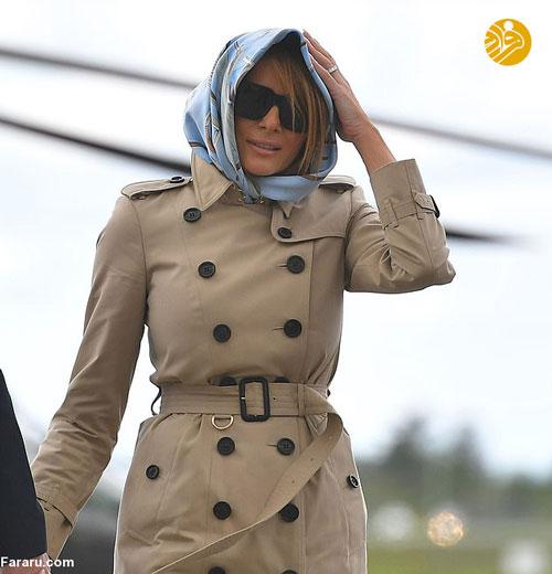 ملانیا ترامپ روسری سر کرد+عکس