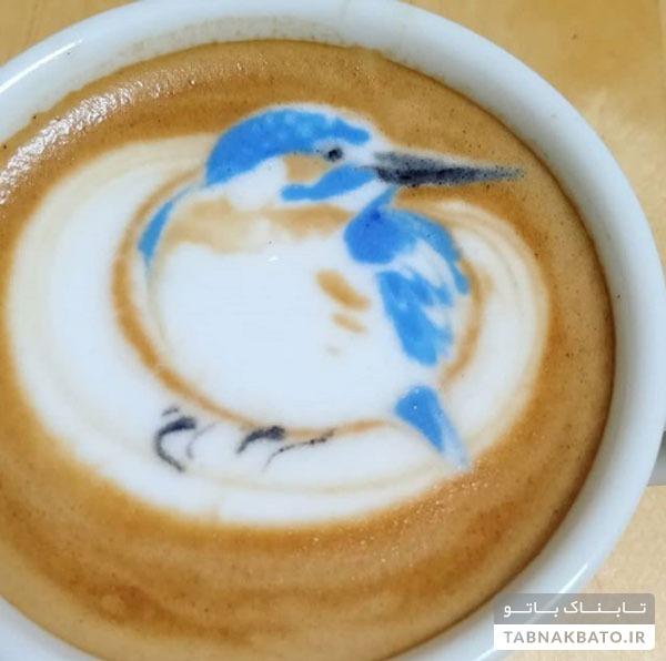 طرحهای زیبای پرندگان بر روی فنجان قهوه