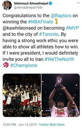 پیام احمدینژاد برای قهرمان NBA+عکس