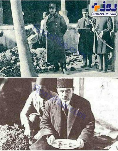 عکسی از رضاشاه در حال نبش قبر كريم خان زند