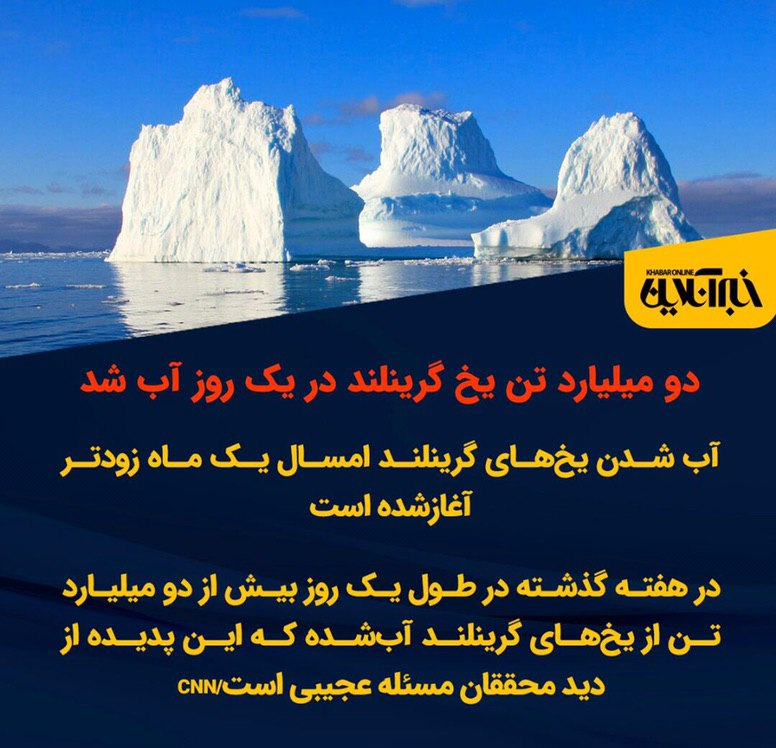 دو میلیارد تن یخ گرینلند در یک روز آب شد + عکس