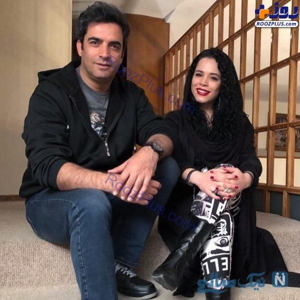 ملیکا شریفی نیا و منوچهر هادی در پشت صحنه دل+عکس