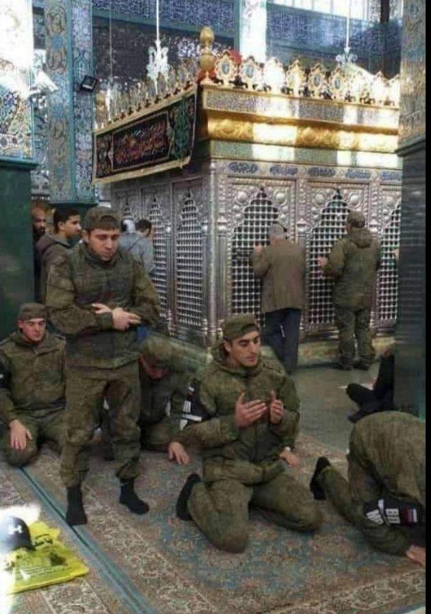 حضور سربازان روس در حرم حضرت زینب (س) +عکس