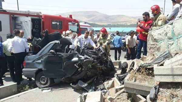 مرگ راننده جوان در پراید متلاشی شده+عکس