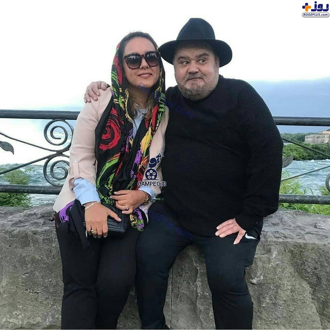 اکبر عبدی و دخترش در کنار آبشار نیاگارا +عکس