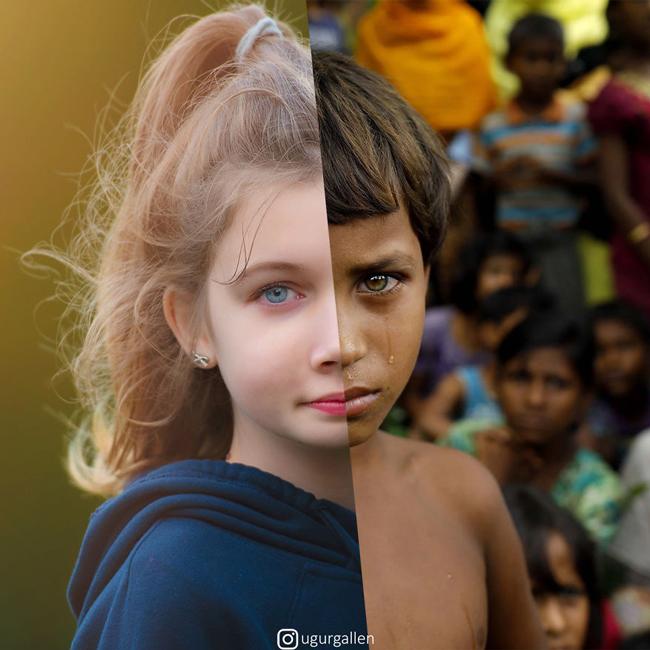 تضاد غمانگیز بین دو دنیایی که در آن زندگی میکنیم