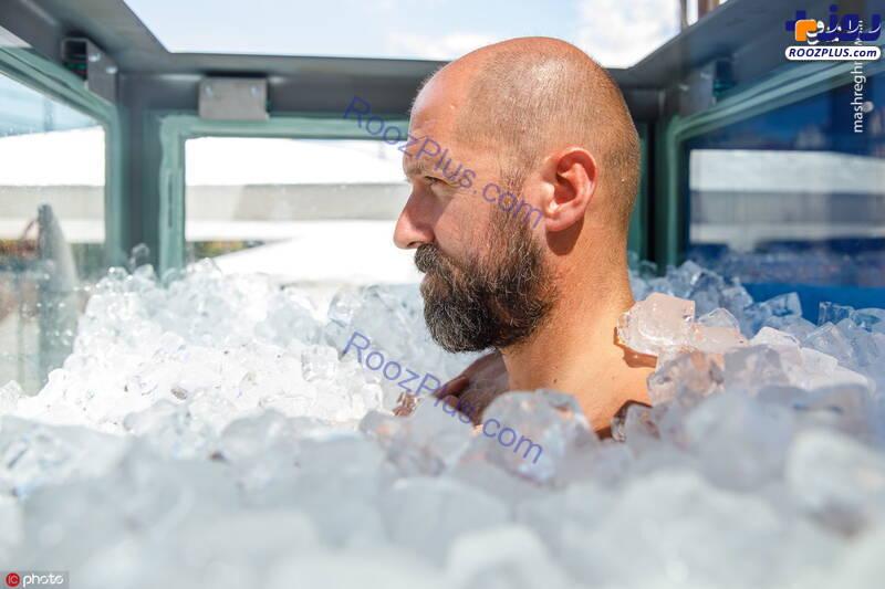مردی که یخ زد تا معروف شود +عکس