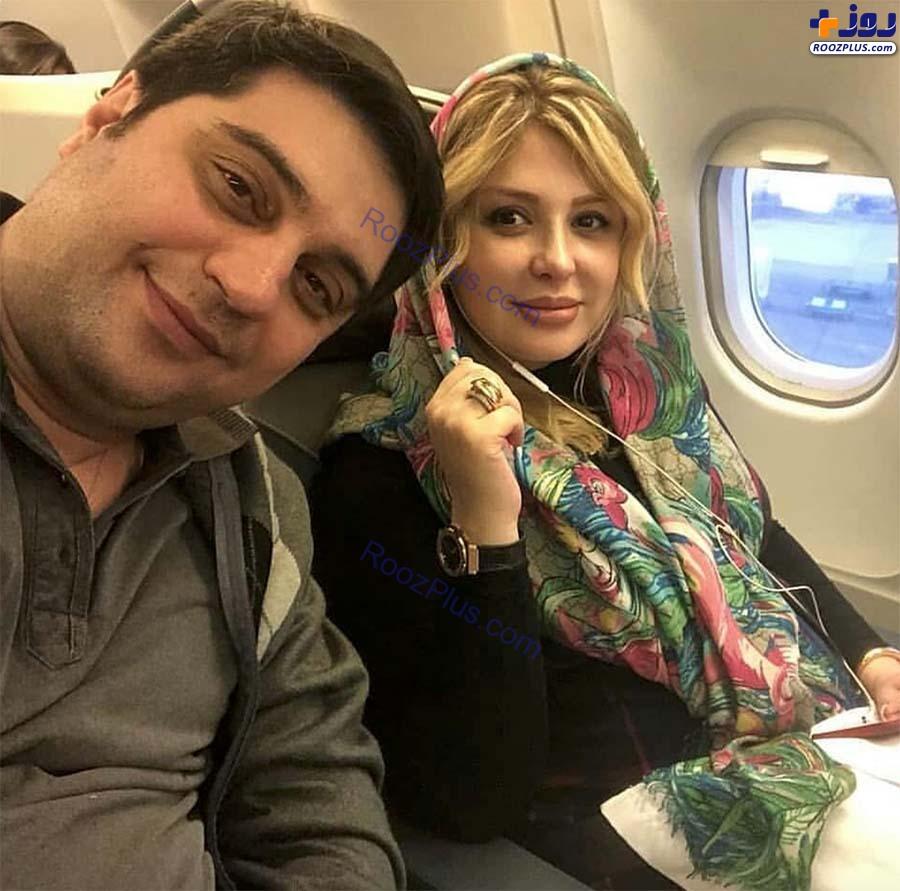 سلفی نیوشا ضیغمی به همراه همسرش در هواپیما