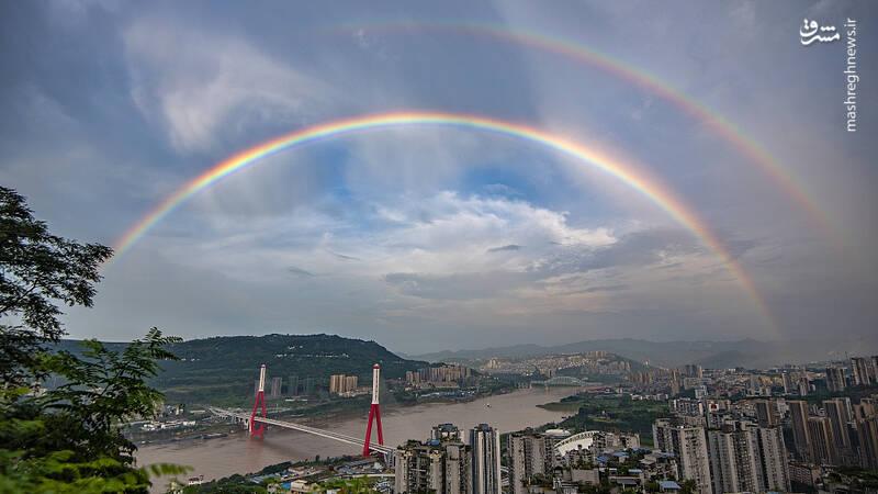 رنگین کمان زیبا در آسمان چین +عکس