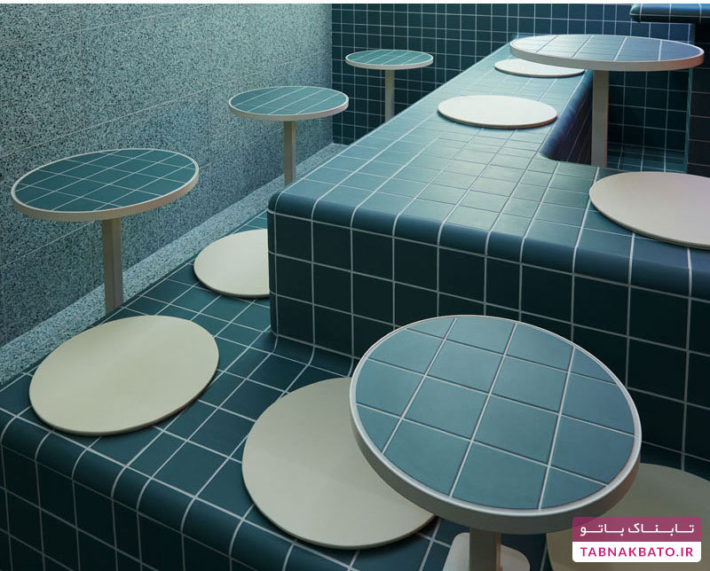 طراحی جالب یک رستوران با کاشی حمام!