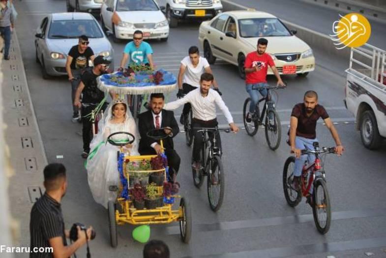 ماشین عروس متفاوت زوج عراقی سوژه شد +تصاویر
